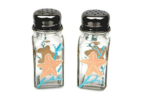 Atkinson Creations Starfish With Blue Coral Salt And Pepper Shaker Set, Beach Kitchen Decor
