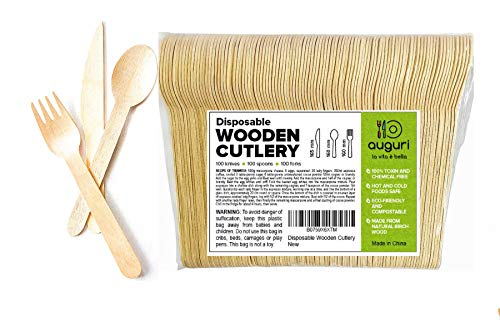 Disposable Wooden Cutlery by Auguri - 300 Pack- Eco-Friendly, Biodegradable and Compostable Tableware - Green alternative to plastic flatware and metal utensils -100 Spoons,100 Knives and 100 Forks