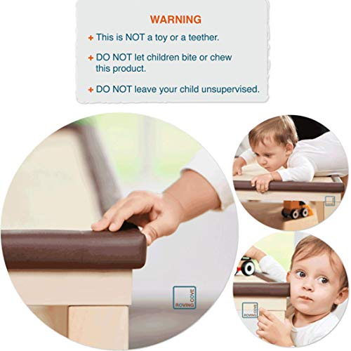 Roving Cove | Baby Proofing Edge & Corner Guards | Safe Edge & Corner Cushion | Child Safety Furniture Bumper | Table Protectors | Pre-Taped Corners | 16.2 ft [15 ft Edge + 4 Corners] | Coffee brown by Roving Cove (Image #6)