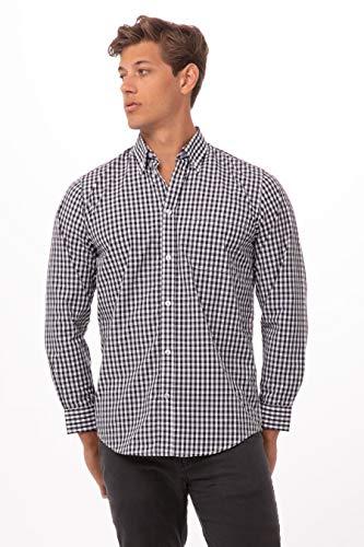 Chef Works Men's Gingham Dress Shirt, Black & White Check, Large (Mens Black Check Shirts)