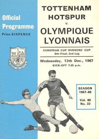 Tottenham Hotspur v Olympique Lyonnais official programme 13//12//1967 European Cup Winners Cup by COLLECTSOCCER.COM