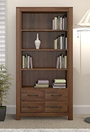 Grand walnut wood furniture large tall bookcase bookshelf with drawers