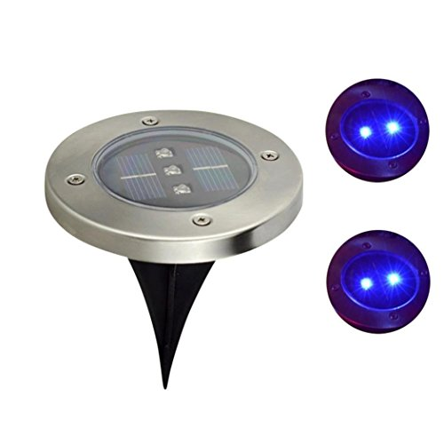 Price comparison product image Iusun Solar Powered LED Ground Lights Buried Inground Recessed Light For Garden Outdoor Path Decking Pathway Yard (Blue)
