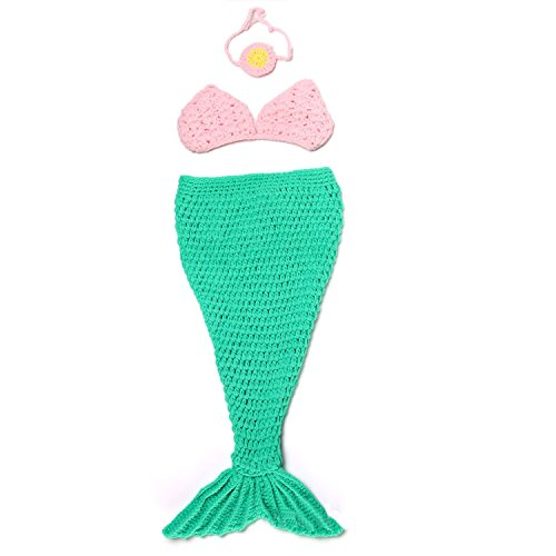 Mrotrida Newborn Baby Costume Mermaid Tail Headband Bra Knitting Photography Props Green