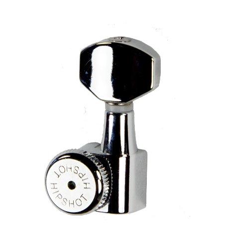 Locking Tuner Chrome - Hipshot Grip-Lock 6 inline Enclosed Left Hand/Reverse Staggered Post Locking Tuners - Chrome