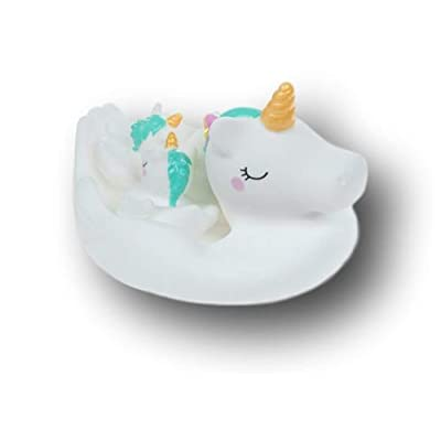 Mission Gallery Adorable Mama Unicorn with Three Baby Unicorns Rubber Bath Toys Set in Mesh Bag: Toys & Games