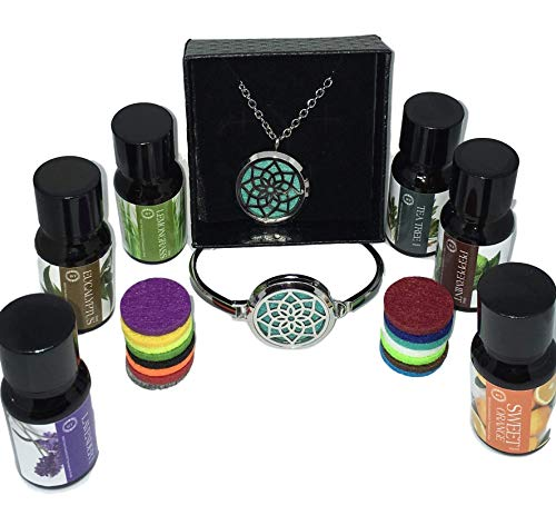 Bella Therapy Aromatherapy Lotus Diffuser Necklace and Bracelet stainless steel pendant jewelry Set with 6 Pack of Premium Essential Oils, Therapeutic Grade Bundle, 21″ Chain with locket Gift set