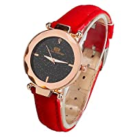 IAMUP Woman Fashion Leather Band Analog Quartz Round Wrist Watch Watches Vintage Business Useful Wristwatch Red