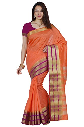 Mimosa by Kupinda Women's Tusser Silk Saree Kanjivaram Style Color :Peach (Magenta Photographic Dye)