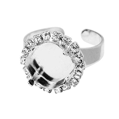 Gita Jewelry Stone Setting for Swarovski Crystal, Tilted Square Ring Base for 12mm Cushion with Crystals, Rhodium Plated