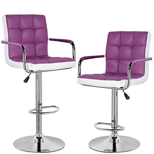 Back Leather Counter Stool (Modern Contemporary Leather Swivel Adjustable Counter Height Bar Stools with Backs and Arms Set of 2 Purple White)