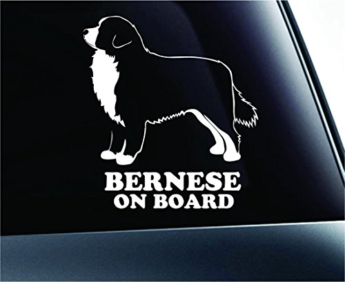 Dog Bernese Mountain Dog on Board Symbol Decal Car Truck Sticker Window Dog Breed Pet Family Paw Print Love (White)