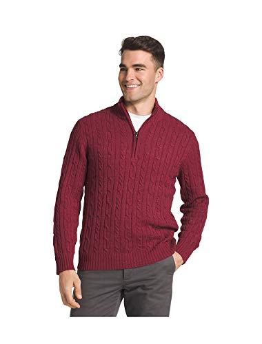 IZOD Men's Premium Essentials Cable Knit 1/4 Zip Sweater (Red, ()