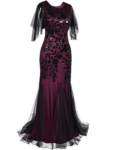 de PrettyGuide Bourgogne longue Dco Robe soire ourlet robe Maxi Sirne Paillette Femmes 1920 Annes bal de grCxrqEwZ
