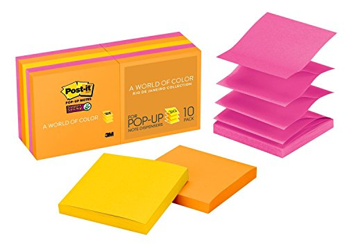 Post-it Super Sticky Pop-up Notes, 3 in x 3 in, Rio de Janeiro Collection, 10 Pads/Pack (3m Refill Sticky Notes)