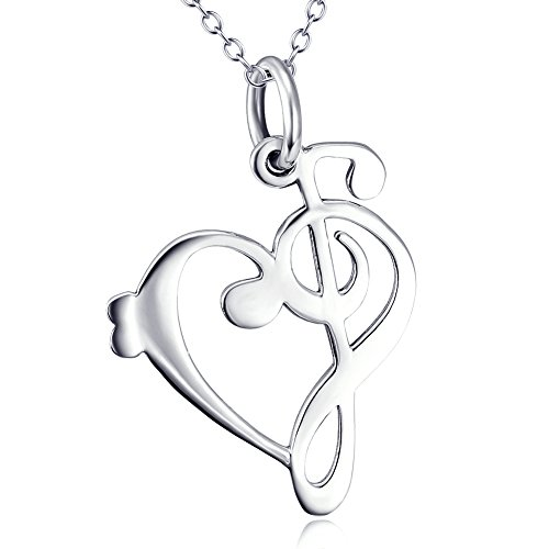 925 Sterling Silver Necklace Music Note Symbol Heart of Treble Bass Clefs Pendant Necklace 18