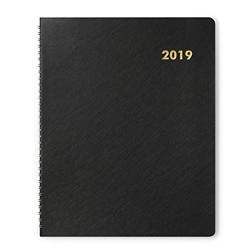 Fleeken Monthly Planner 2019, Twin-Wire Bounded, 8.5 x 11 Inches, Large, Black