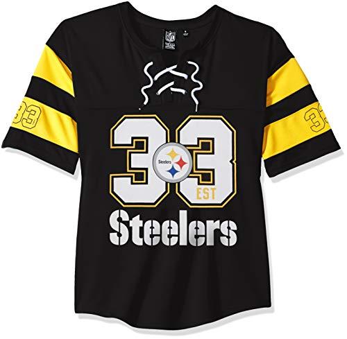 NFL Pittsburgh Steelers Women's Hockey Jersey T-Shirt Mesh Lace Tee Shirt, X-Large, Black