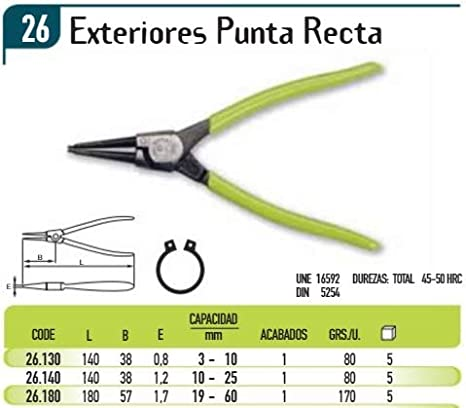 ECOSPAIN Alicates de arandela Exterior y de Punta Recta 26.180 ...