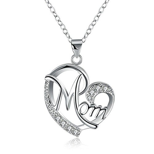 Women's Heart Shape Pendant Jewelry Mom's Love Shaped Diamond Necklace Gold Silver Rose Gold (Silver)