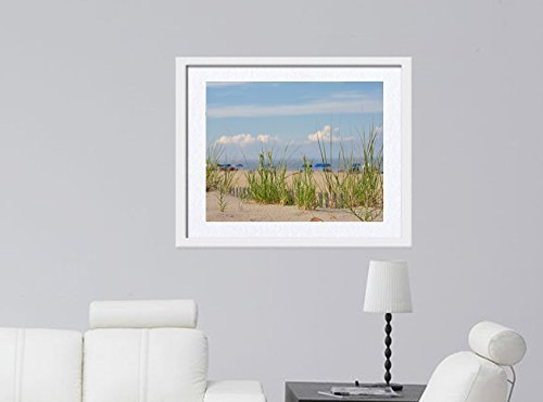 Sand Dunes, Beach Grass, Umbrellas and Ocean in the Distance Picture as Beach Photography Print, Large Coastal Wall Photo Print 5x7, 8x10, 11x14, 12x16, 12x18, 16x24