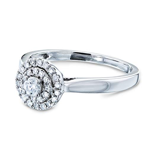 Kobelli Round Circle Cluster Double Halo Taper Shank Diamond Ring 1/5 Carat TDW in 14k White Gold, 6.5