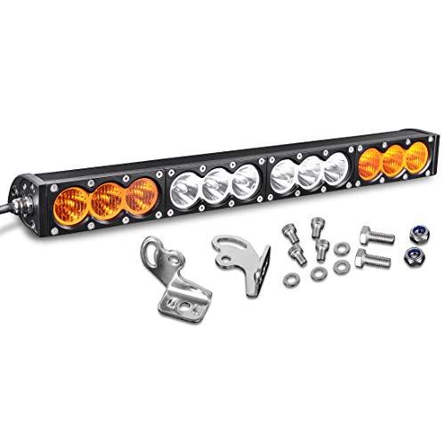 22-24Led LED Light Bar 120W Single Row Amber & White Color Spot Fog Driving Light for 4WD ATV Boat Jeep Wangler Trucks