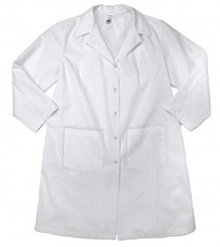 GRIPPERS-X-Small-White Pinnacle Textiles L18F-XS-WH FEMALE LAB COAT Pinnacle Textile L18F 5.25 OZ POPLIN 65//35 Polyester//Cotton