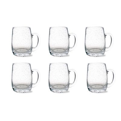 Tag Bubble Glass Beer Mug, Clear, 6 Count ()