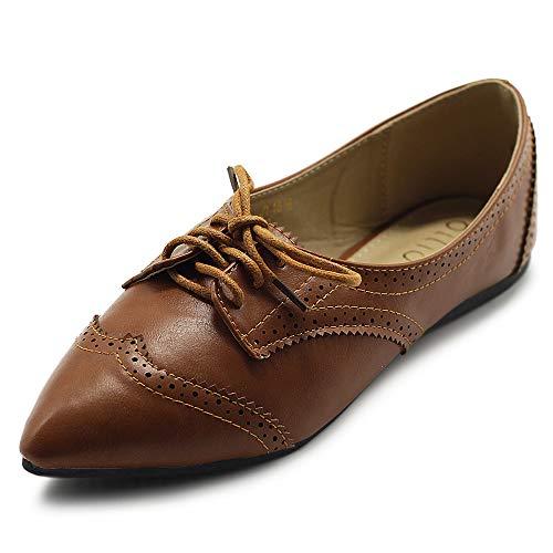 (Ollio Women's Ballet Shoe Flat Enamel Pointed Toe Oxford M1818 (7.5 B(M) US, Brown))