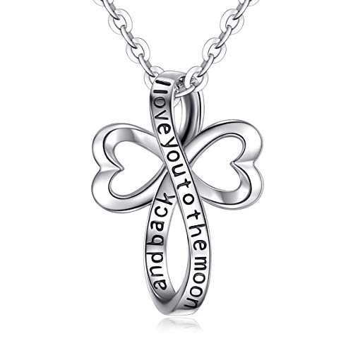 - EUDORA 925 Sterling Silver I Love You to the Moon and Back Necklace Celtic Knot Cross Gift, 18