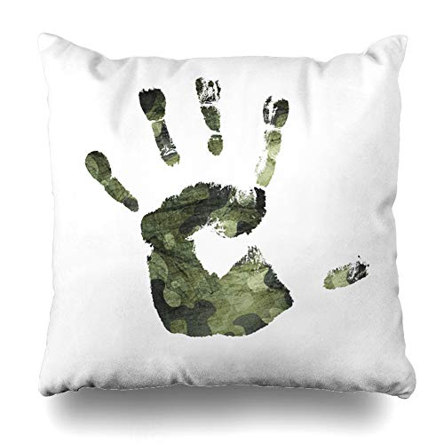 (Ahawoso Throw Pillow Cover Soldier Green Military Handprint Camouflage Camo Navy War American Army Camouflaged Classic Design Home Decor Pillow Case Square Size 18x18 Inches Zippered Pillowcase)