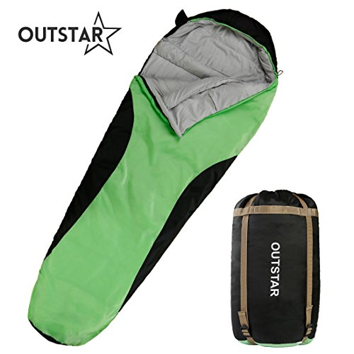 Adult Go Green Girl - OUTSTAR Lightweight Waterproof Envelope Sleeping Bag With Compression Sack for Kids,Boys, Girls, Teens & Adults. Indoor &Outdoor Camping, Travelling, Hiking & Backpacking (Green & Black/Right Zip)