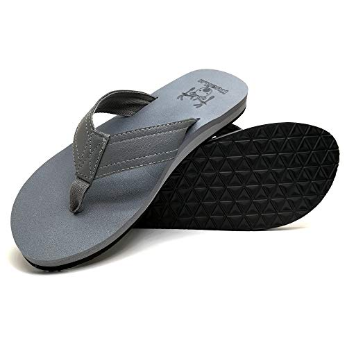 KUAILU Men's Yoga Mat Leather Flip Flops Thong Sandals with Arch Support Grey (Best Mens Thong Sandals)