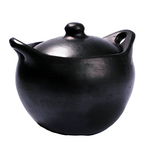 Ancient Cookware Black Clay, La Chamba Rounded Soup Pot - Large - 6 Quarts
