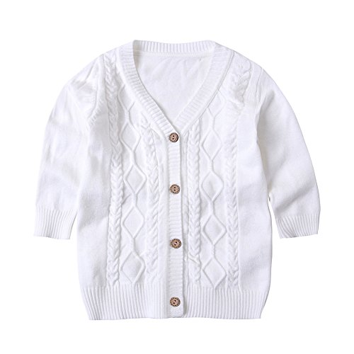 SMILING PINKER Baby Boys Girls Cardigans V-Neck Solid Sweaters Cable Knitted Button Coats Outwear(6-12 Months, White)