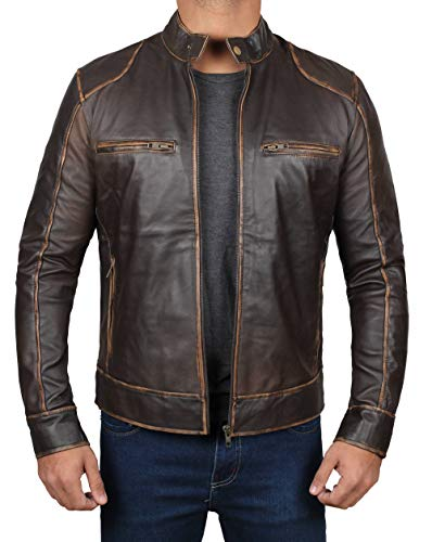 Men's Leather Jacket - Brown Distressed Lambskin Motorcycle Leather Jacket Men | Dodge, XS