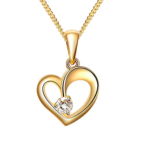 tej 925 Sterling Silver Gold Tone Heart Shaped Cubic Zirconia Pendant Including 16-18' Curb Chain