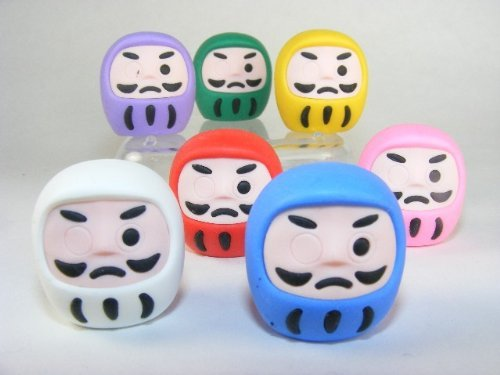 Iwako 7 Colours Japanese Daruma Erasers