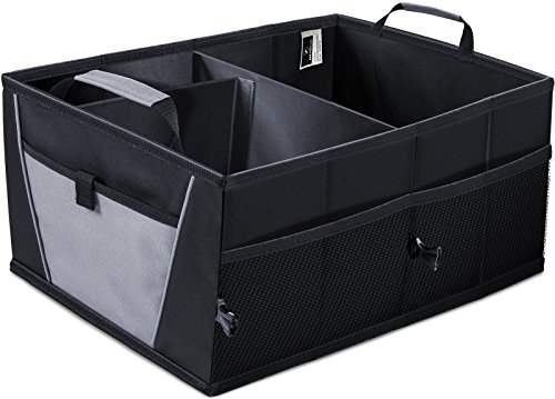 Auto Trunk Storage Organizer Bin with Pockets - Portable Cargo Carrier Caddy for Car Truck SUV Van, 21 x 15 x 10 Folding Bag Image