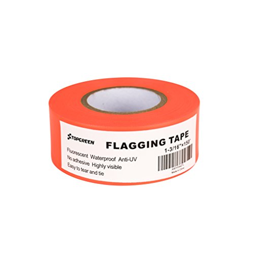 TopGreen Fluorescent Orange Flagging Tape 150-Feet by 1-3/16 Inch Roll Surveyors Tape Caution Ribbon Marking Flags