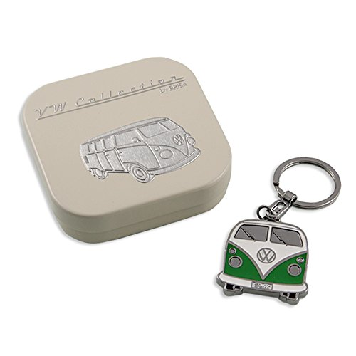 VW Collection by BRISA Genuine VW Bus Front Key Chain with embossed gift tin (Green)
