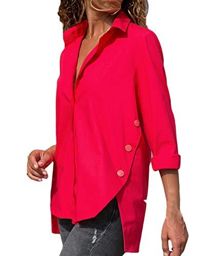 Shirts Tinta Irregolare Primavera Unita Maglie Bluse Casual Camicie a Moda Donna Autunno Fashion Risvolto Tops Maglietta e Blouse Manica Cime Giovane Simple Lunga PxqnAvC
