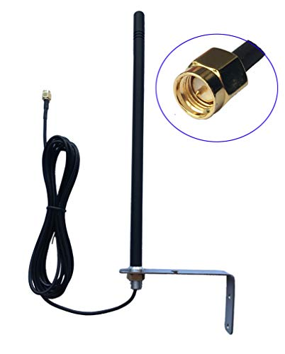 Beyondoor 433mhz Gate Remote Control Antennas,Garage Door Remote Control Antenna 3dBi 3Meters RG174 Cable SMA Straight Male Wall Mount with L Shape Bracket