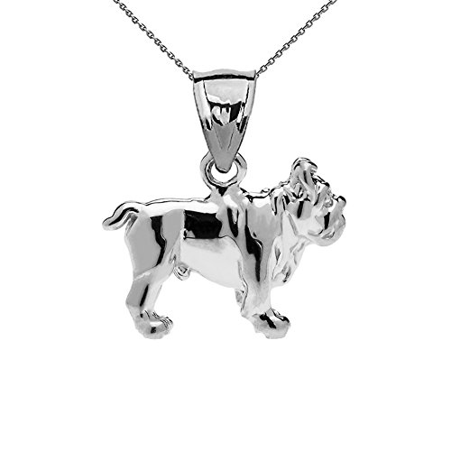 (Solid 14k White Gold Bulldog Charm Pendant Necklace with 22