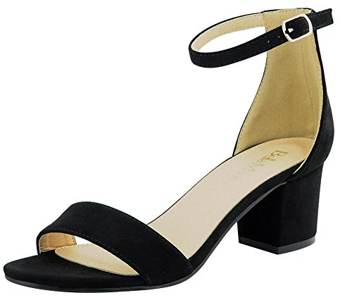Bella Marie Women's Strappy Open Toe Block Heel Sandal Black 7