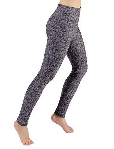 ODODOS High Waist Out Pocket Yoga Pants Tummy Control Workout Running 4 Way Stretch Yoga Leggings,NavyHeather,Small