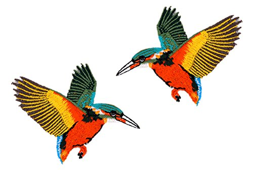 RoseSummer 2Pcs Sequin Sew Iron On Bird Embroidered Patches Appliques for Couples Clothing Accessories