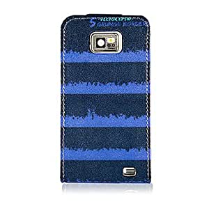 GHK - Blue and Black Volume Symbol Pattern PU Leather Full Body Case for Samsung Galaxy S2 I9100