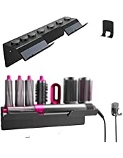 YILONG Compatible with Hair Curler for airwrap Stand on Wall Airwrap Styler Curling Barrels Brushes, Hair Curling Wand Holder, Countertop Bracket Storage Rack on Wall (Black, Wall)